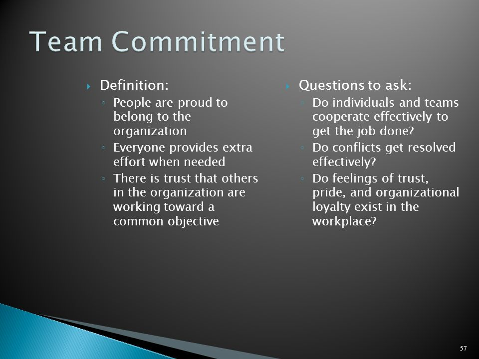 Team Commitment Definition: Questions to ask: