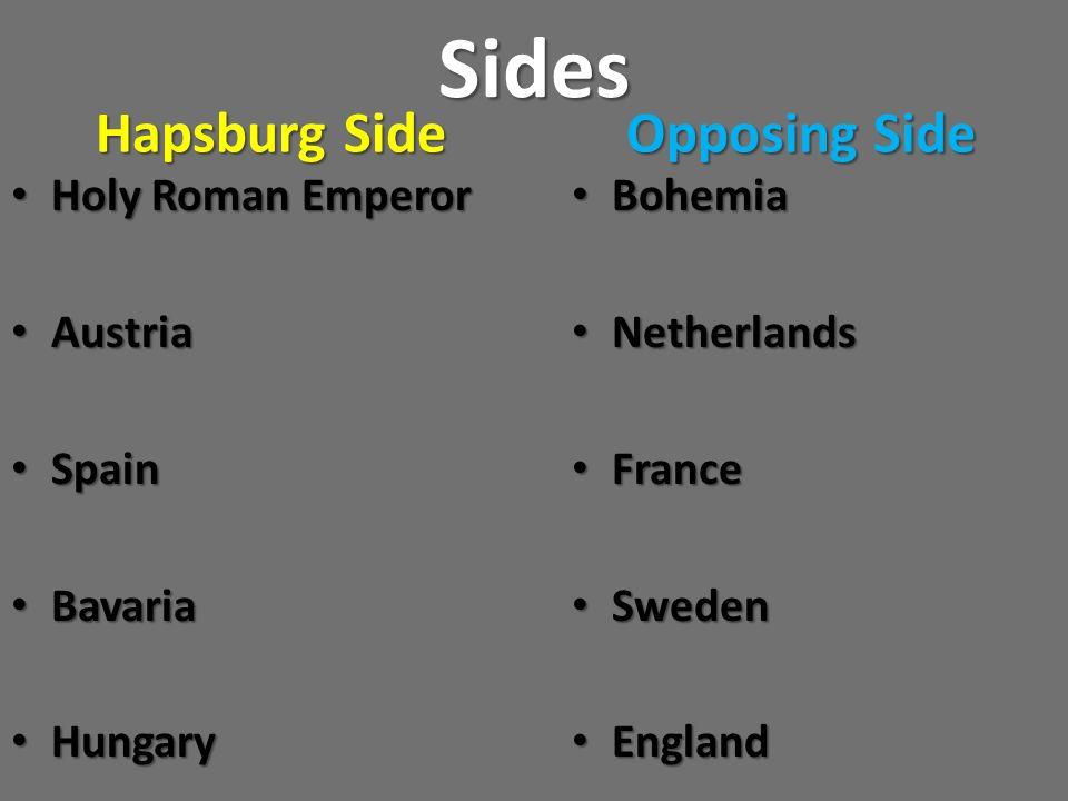 Sides Hapsburg Side Opposing Side Holy Roman Emperor Austria Spain