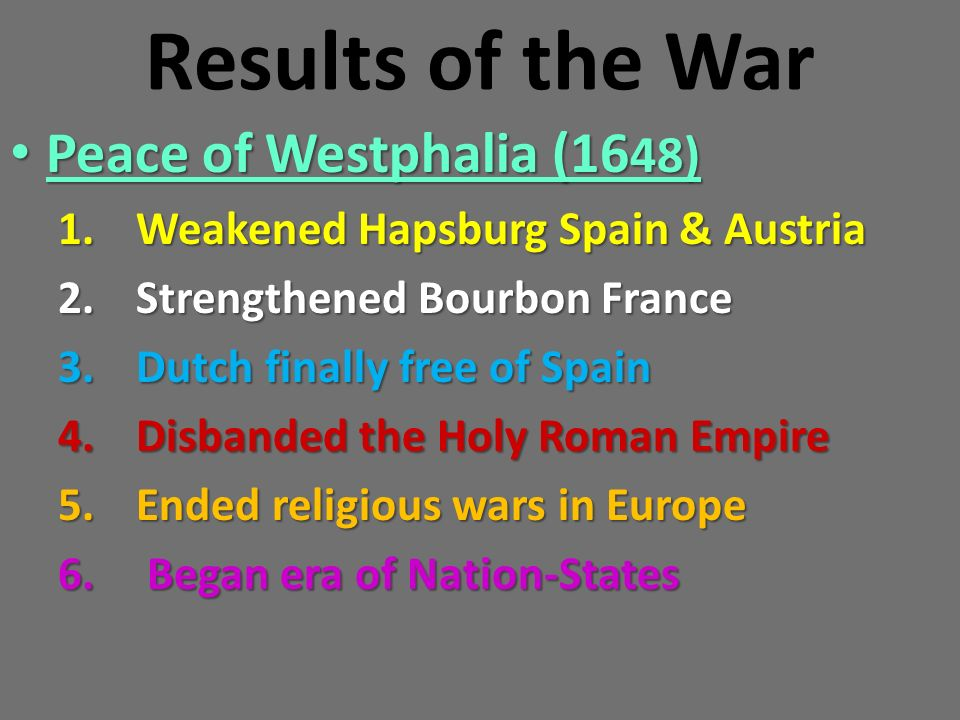 Results of the War Peace of Westphalia (1648)