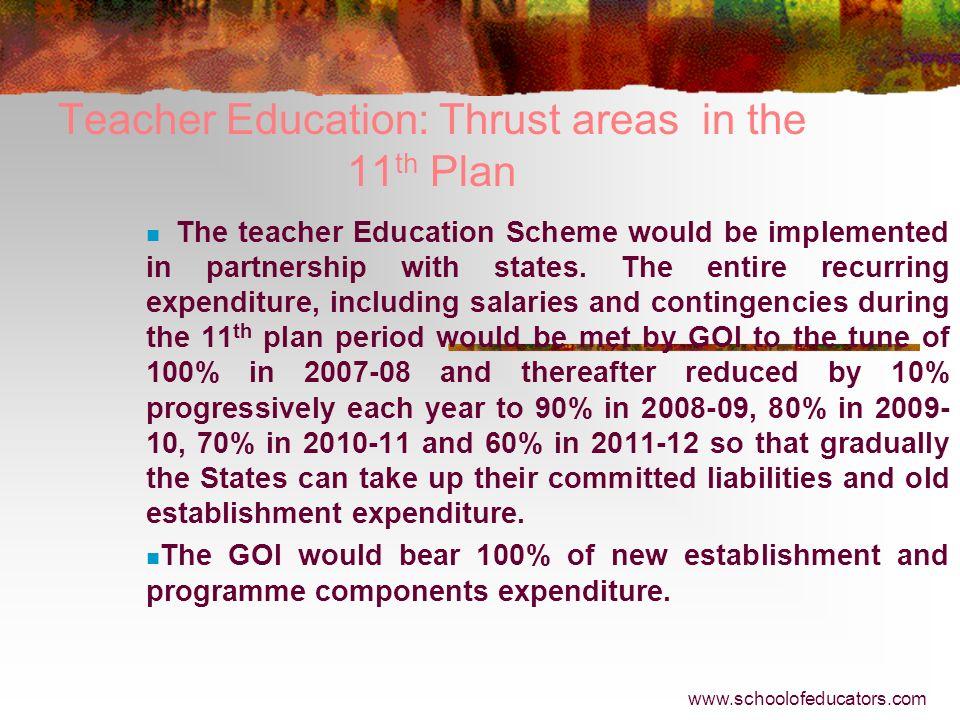 Teacher Education: Thrust areas in the 11th Plan