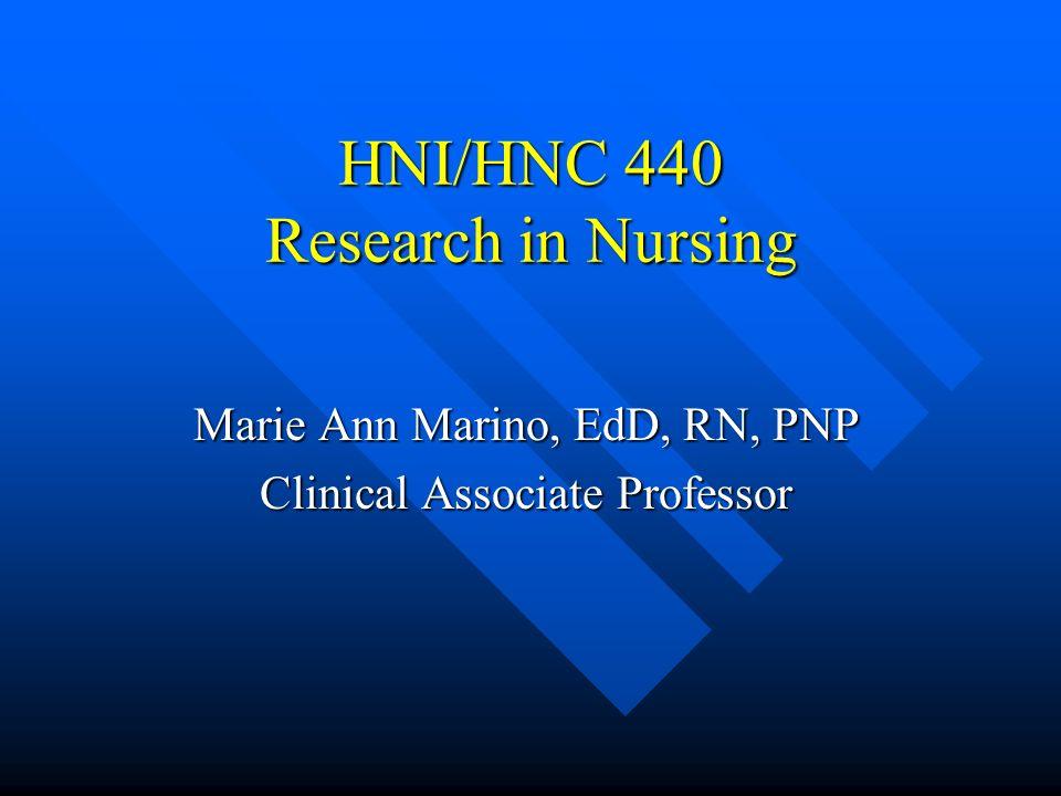 HNI/HNC 440 Research in Nursing