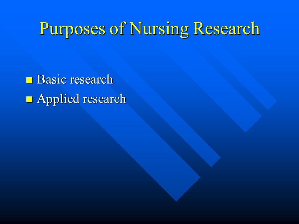 Purposes of Nursing Research
