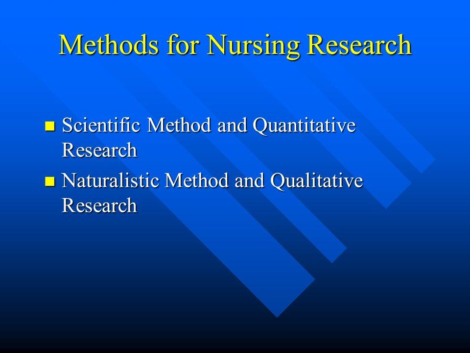Methods for Nursing Research