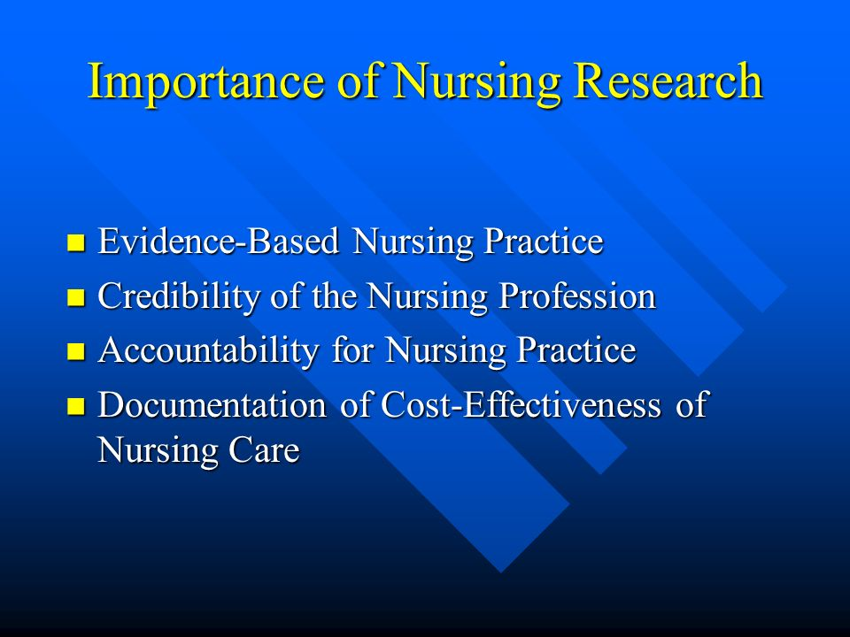 Importance of Nursing Research