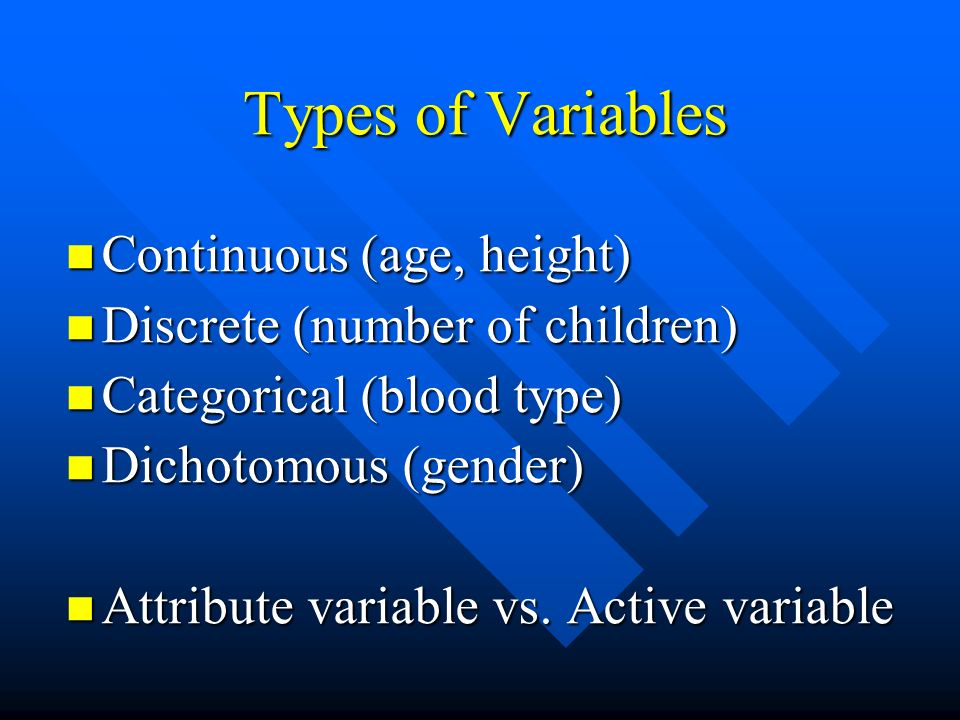 Types of Variables Continuous (age, height)