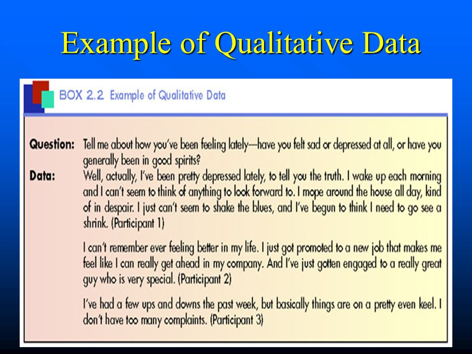 Example of Qualitative Data