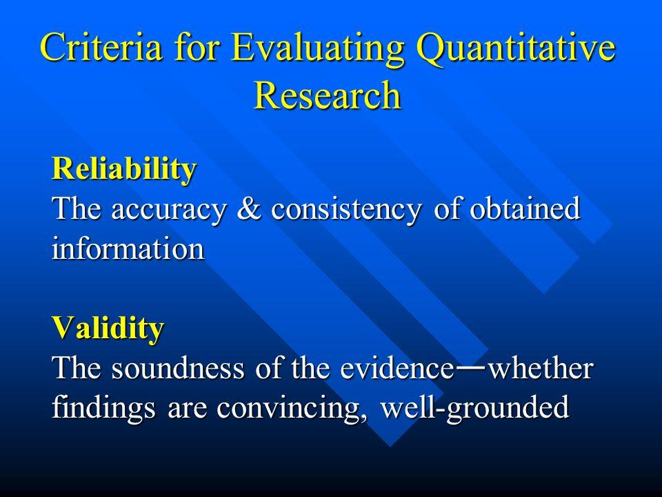 Criteria for Evaluating Quantitative Research