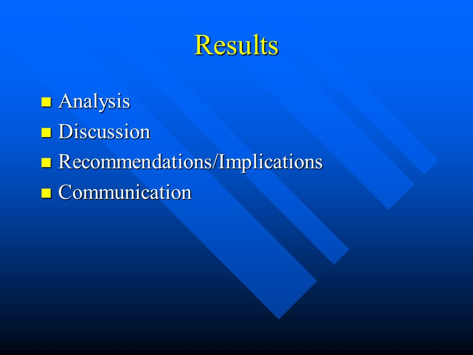 Results Analysis Discussion Recommendations/Implications Communication