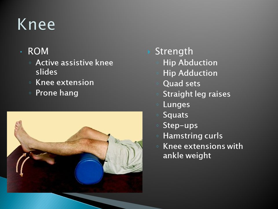 Knee ROM Strength Active assistive knee slides Knee extension