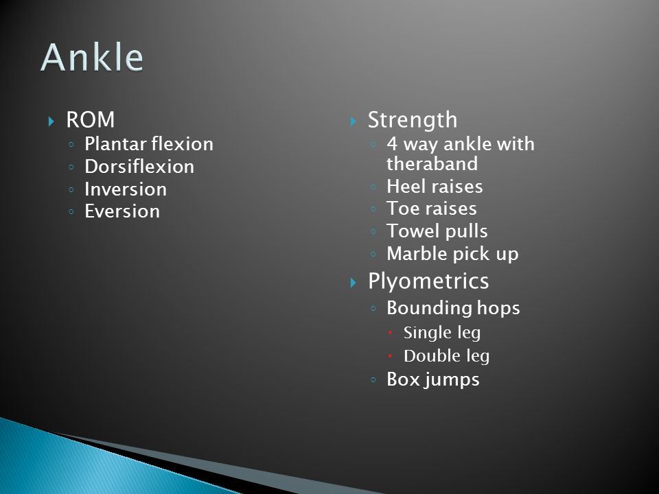 Ankle ROM Strength Plyometrics Plantar flexion Dorsiflexion Inversion