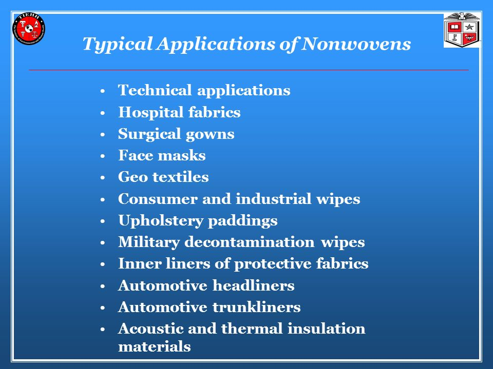 Typical Applications of Nonwovens
