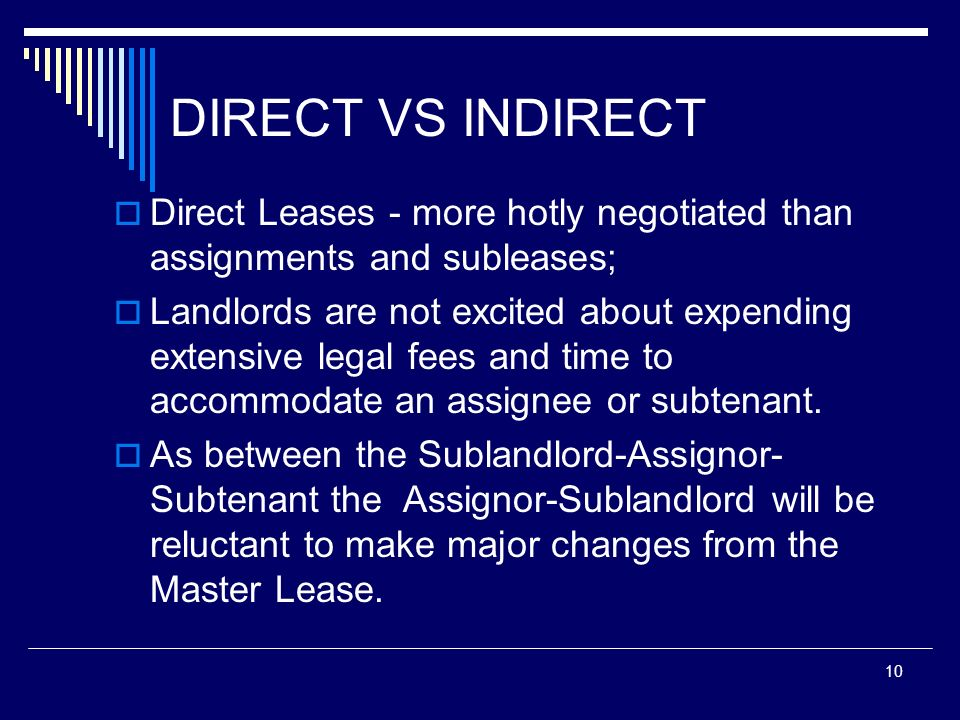 DIRECT VS INDIRECT Direct Leases - more hotly negotiated than assignments and subleases;