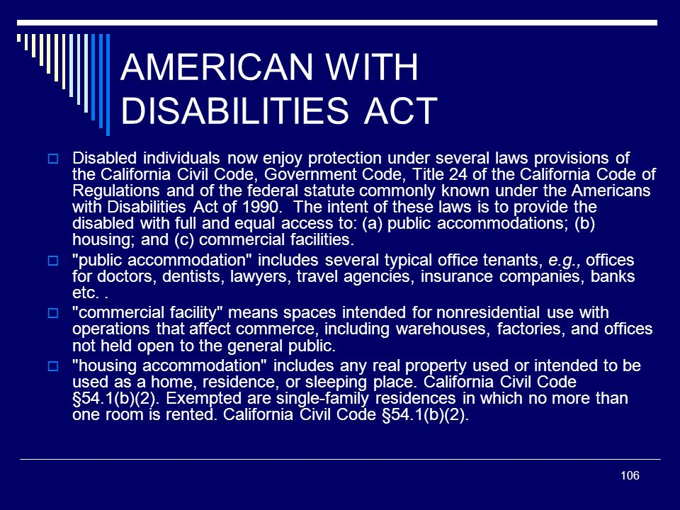 AMERICAN WITH DISABILITIES ACT