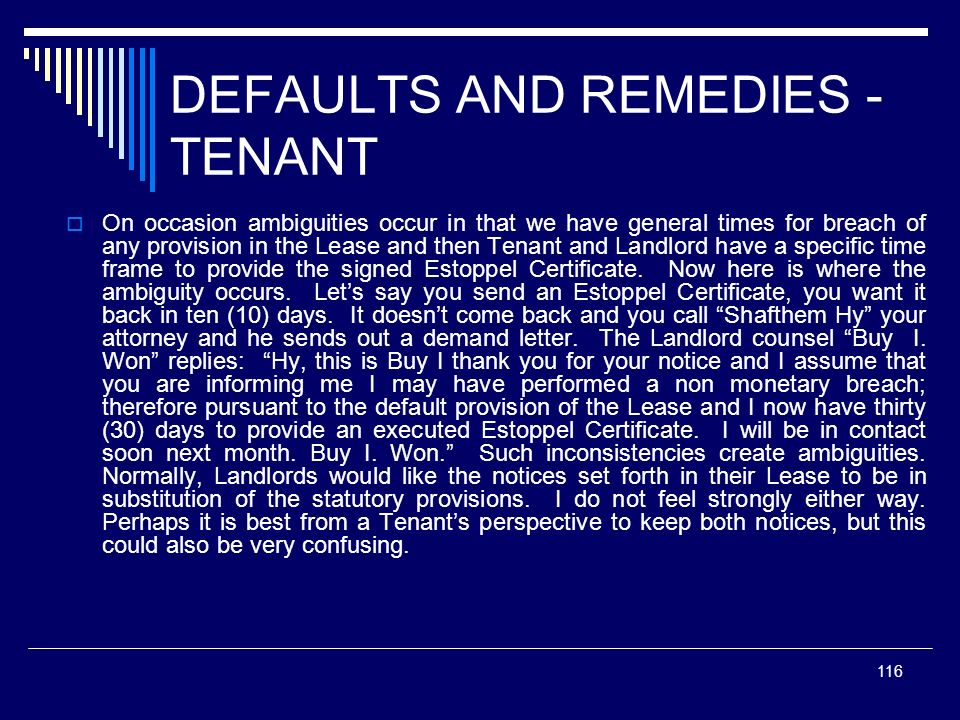 DEFAULTS AND REMEDIES - TENANT