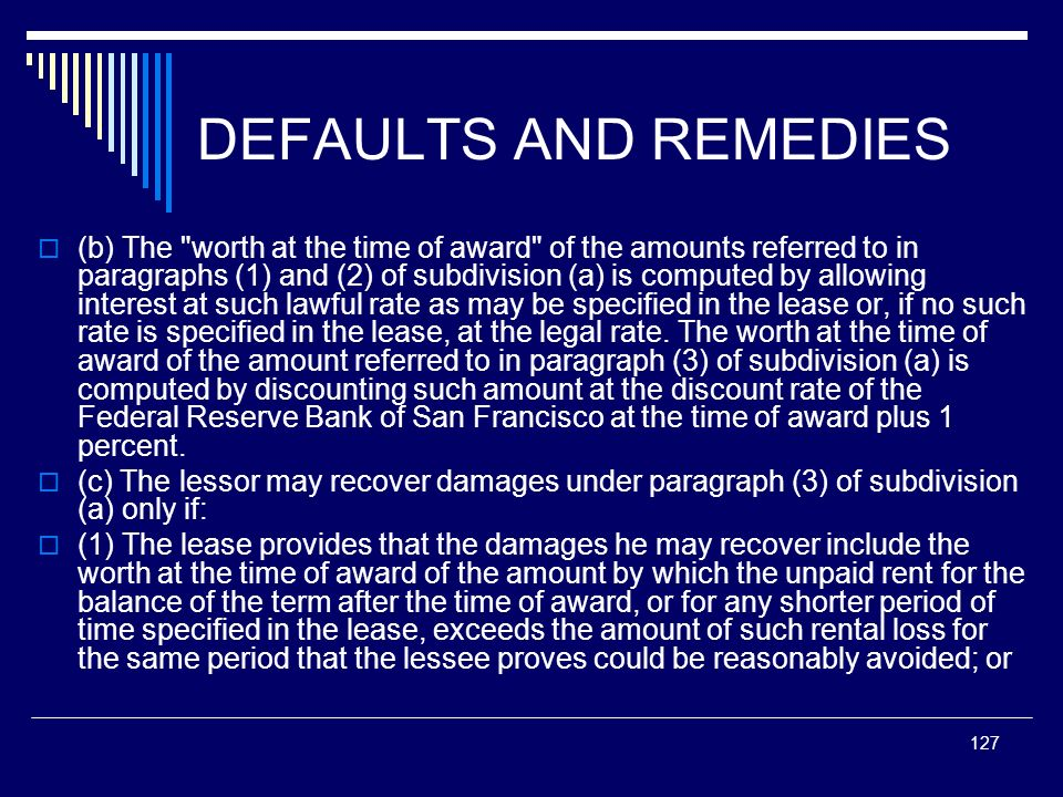 DEFAULTS AND REMEDIES