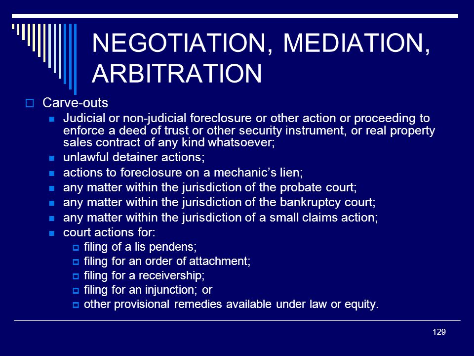 NEGOTIATION, MEDIATION, ARBITRATION