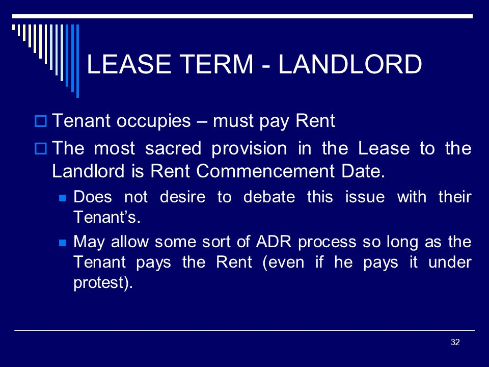 LEASE TERM - LANDLORD Tenant occupies – must pay Rent