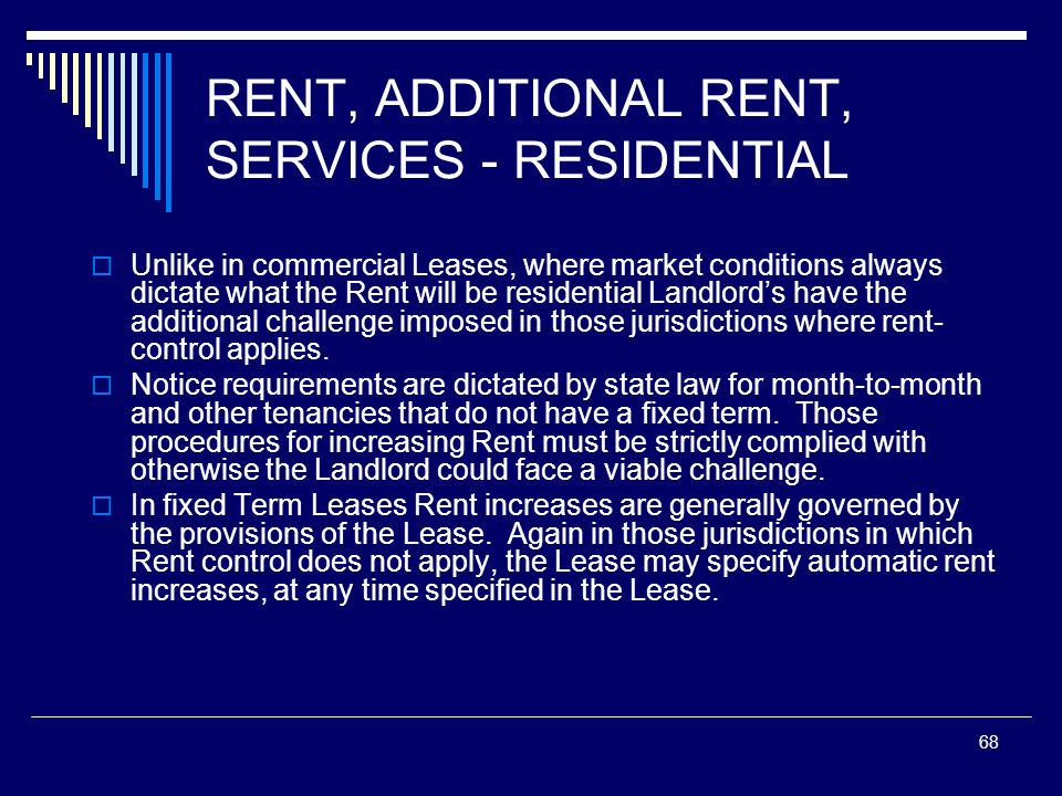 RENT, ADDITIONAL RENT, SERVICES - RESIDENTIAL