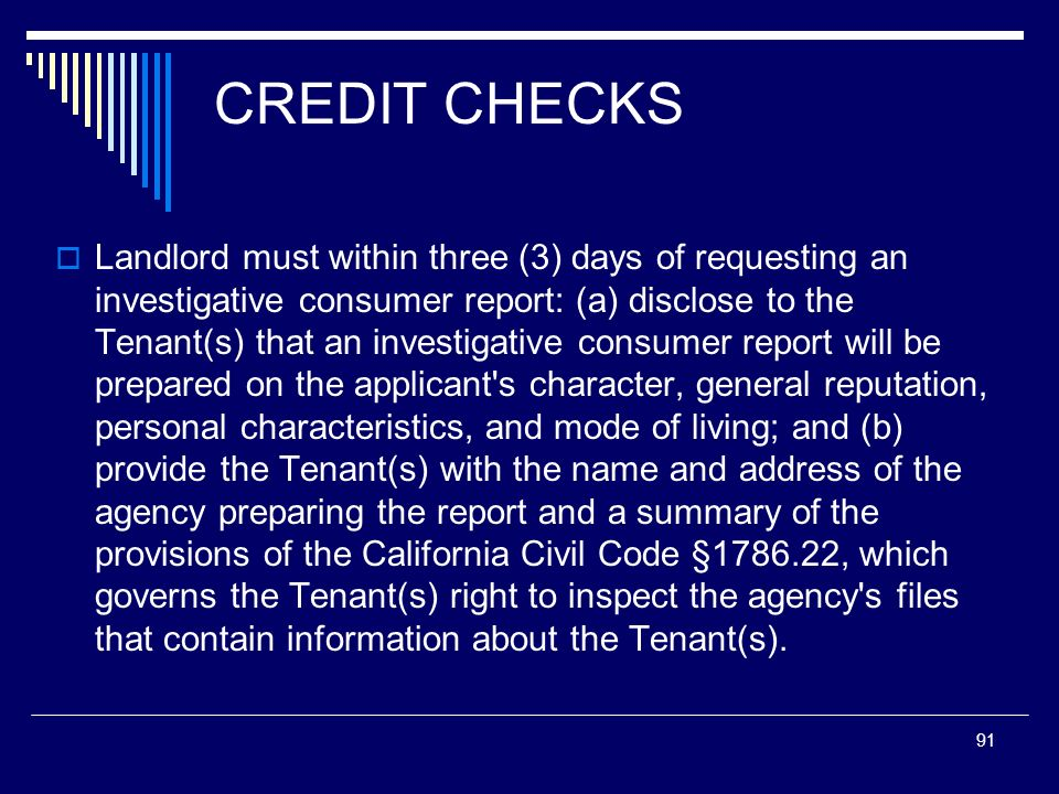 CREDIT CHECKS