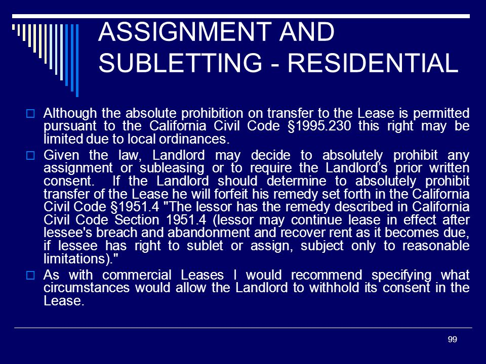 ASSIGNMENT AND SUBLETTING - RESIDENTIAL