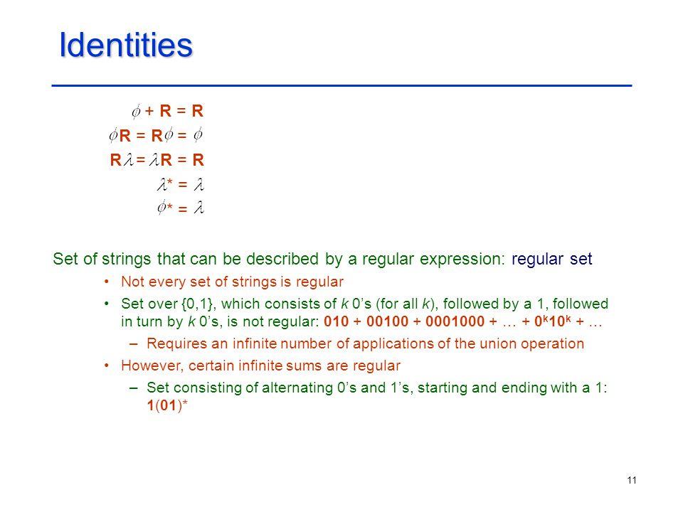 Identities + R = R R = R = R = R = R * =