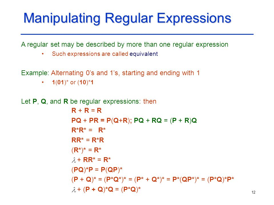 Manipulating Regular Expressions