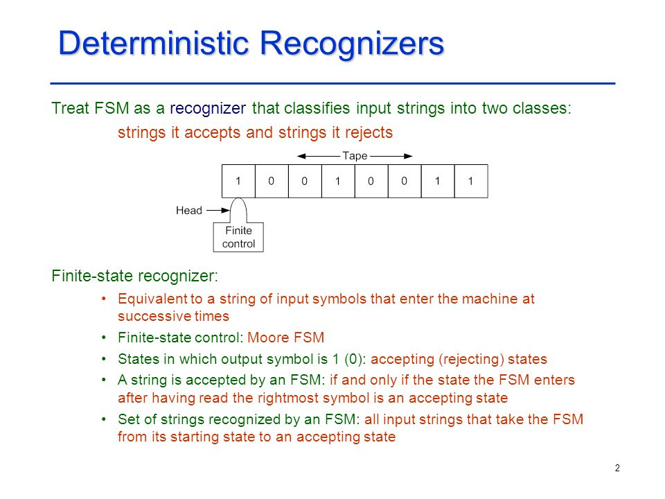 Deterministic Recognizers