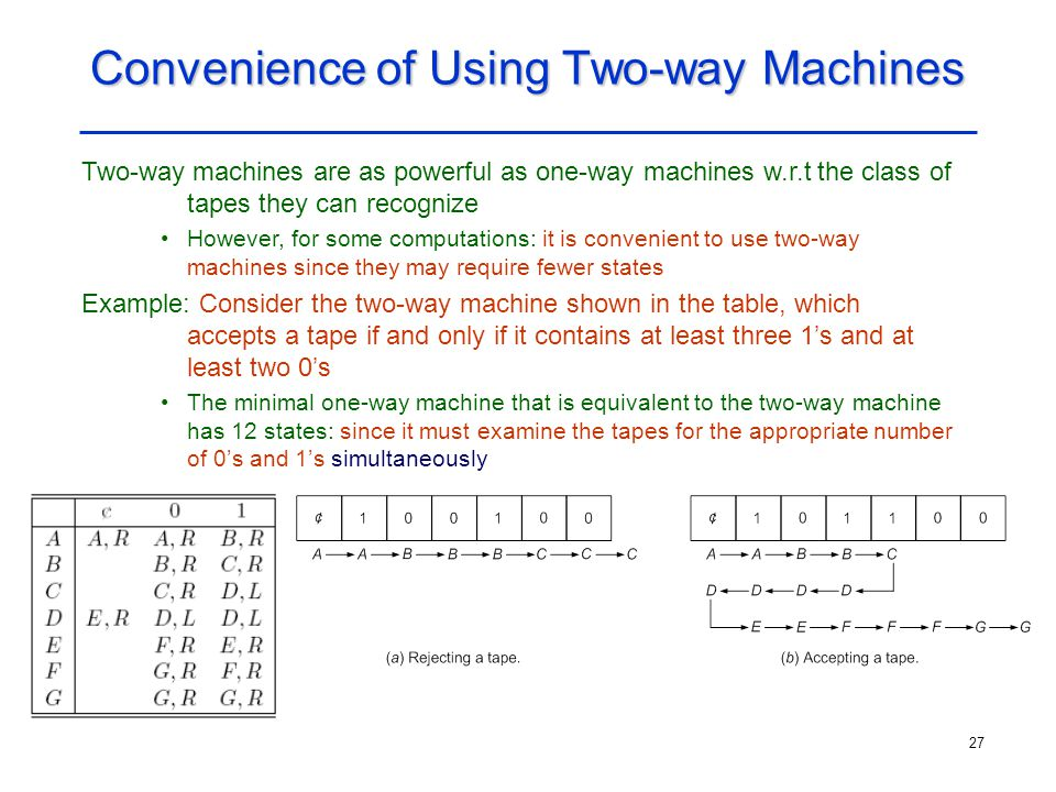 Convenience of Using Two-way Machines