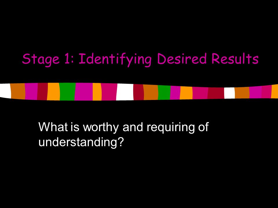 Stage 1: Identifying Desired Results