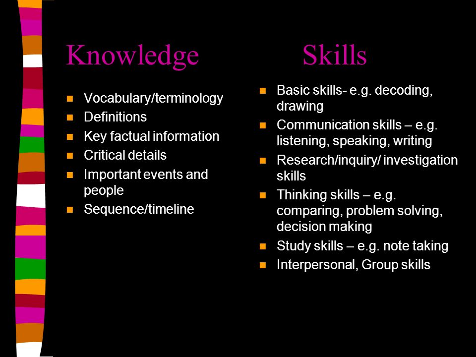 Knowledge Skills Basic skills- e.g. decoding, drawing