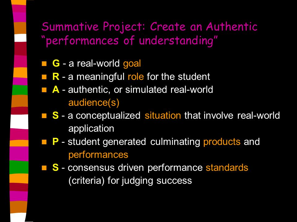Summative Project: Create an Authentic performances of understanding