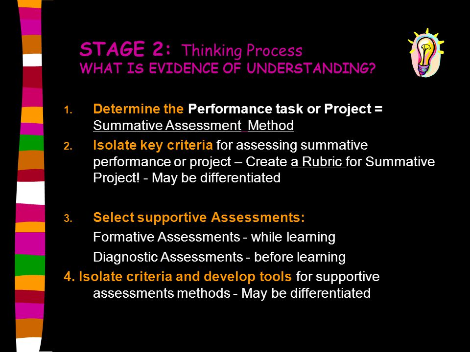 STAGE 2: Thinking Process WHAT IS EVIDENCE OF UNDERSTANDING