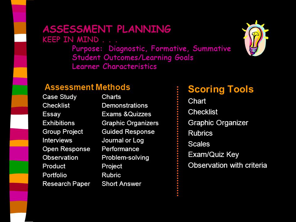 ASSESSMENT PLANNING KEEP IN MIND