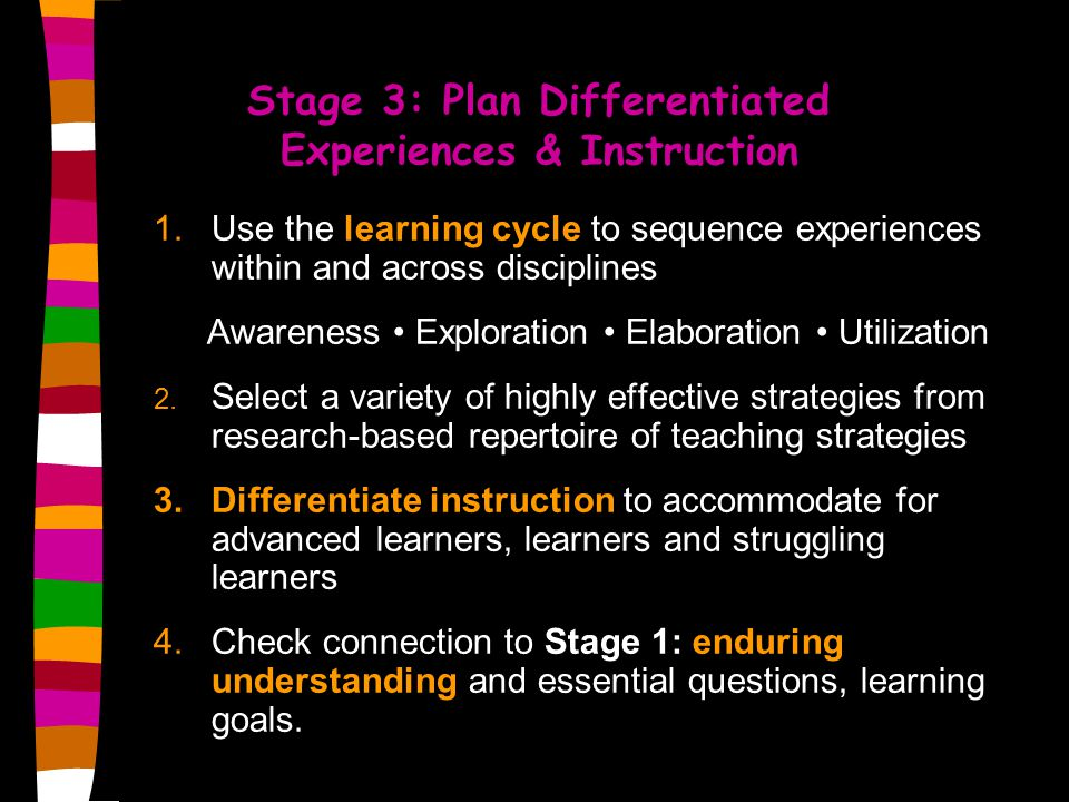 Stage 3: Plan Differentiated Experiences & Instruction