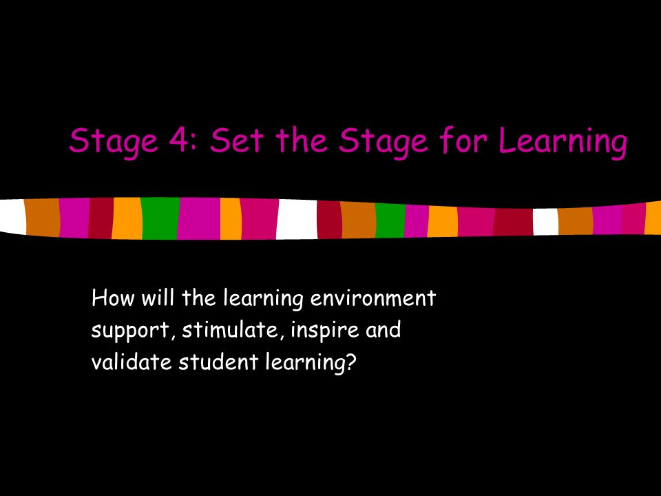 Stage 4: Set the Stage for Learning
