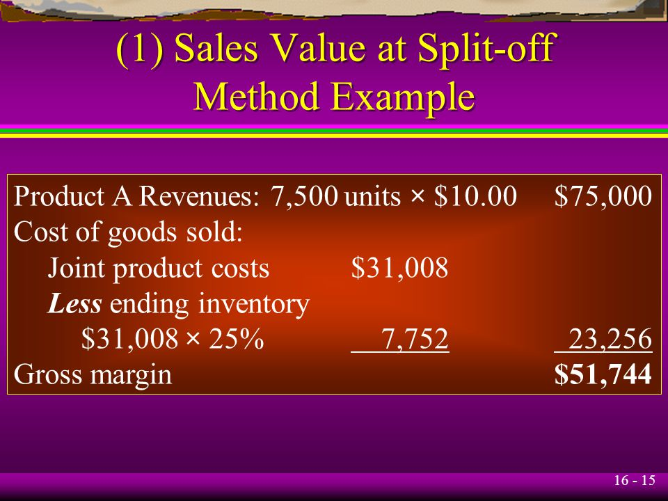 (1) Sales Value at Split-off Method Example