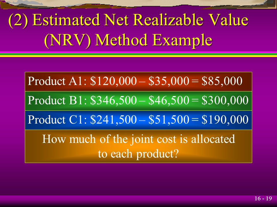 (2) Estimated Net Realizable Value (NRV) Method Example