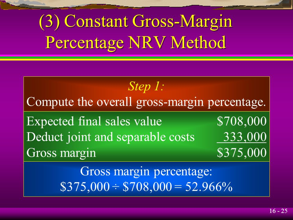 (3) Constant Gross-Margin Percentage NRV Method