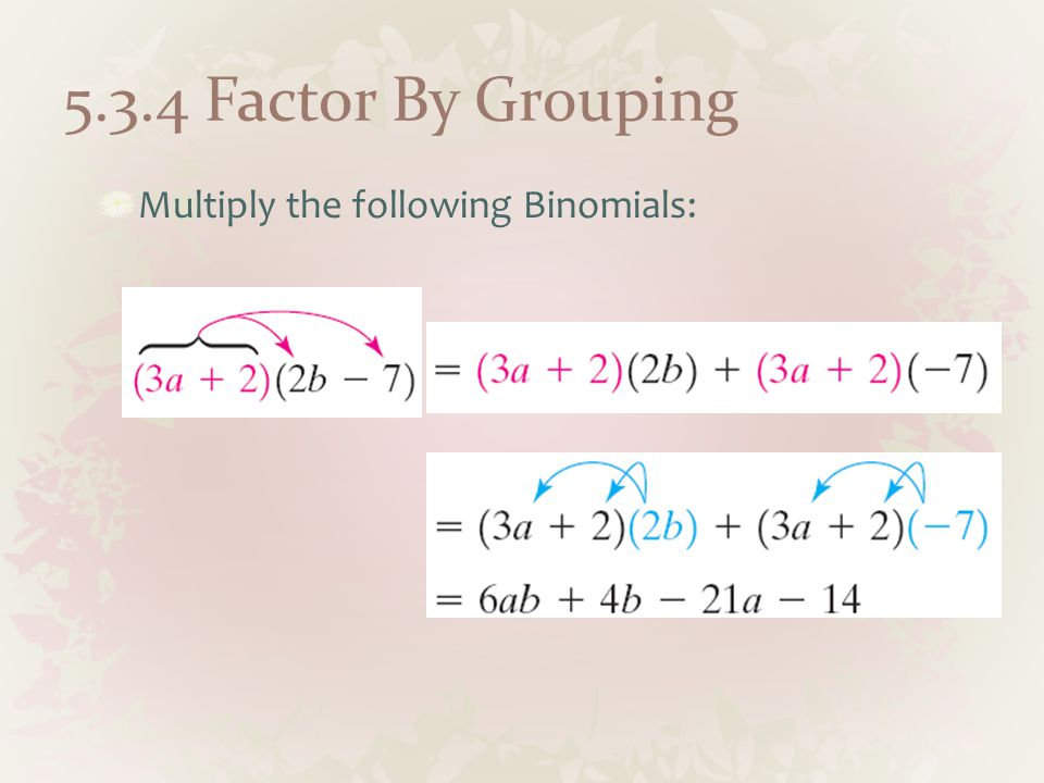 5.3.4 Factor By Grouping Multiply the following Binomials: