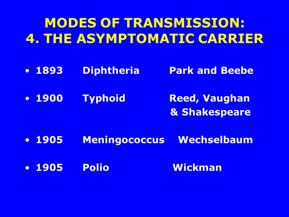 MODES OF TRANSMISSION: 4. THE ASYMPTOMATIC CARRIER