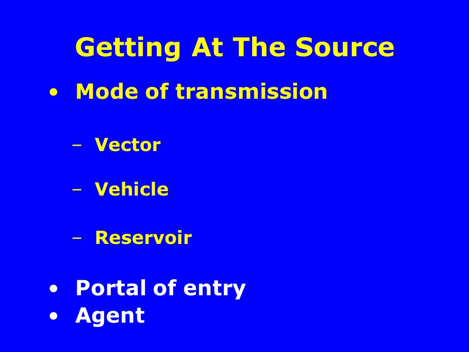 Getting At The Source Mode of transmission Portal of entry Agent