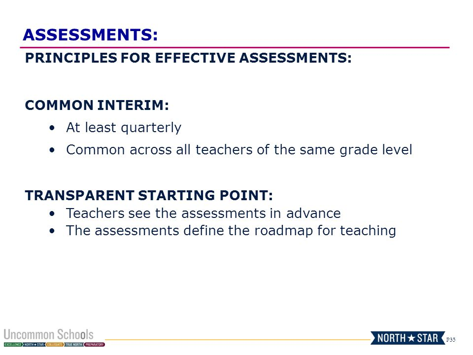ASSESSMENTS: PRINCIPLES FOR EFFECTIVE ASSESSMENTS: COMMON INTERIM:
