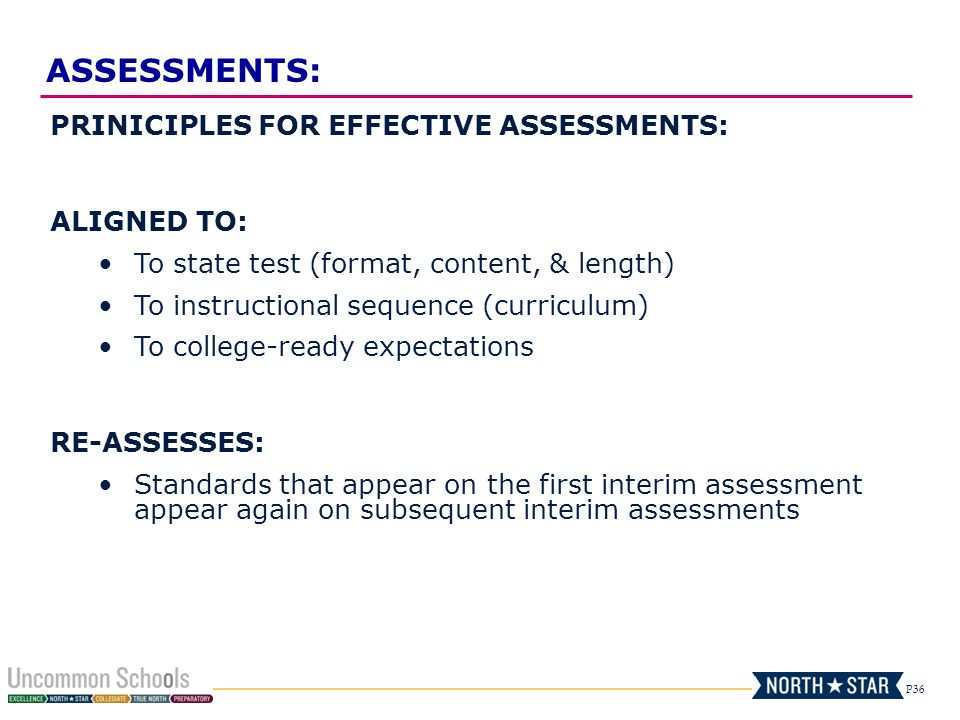 ASSESSMENTS: PRINICIPLES FOR EFFECTIVE ASSESSMENTS: ALIGNED TO: