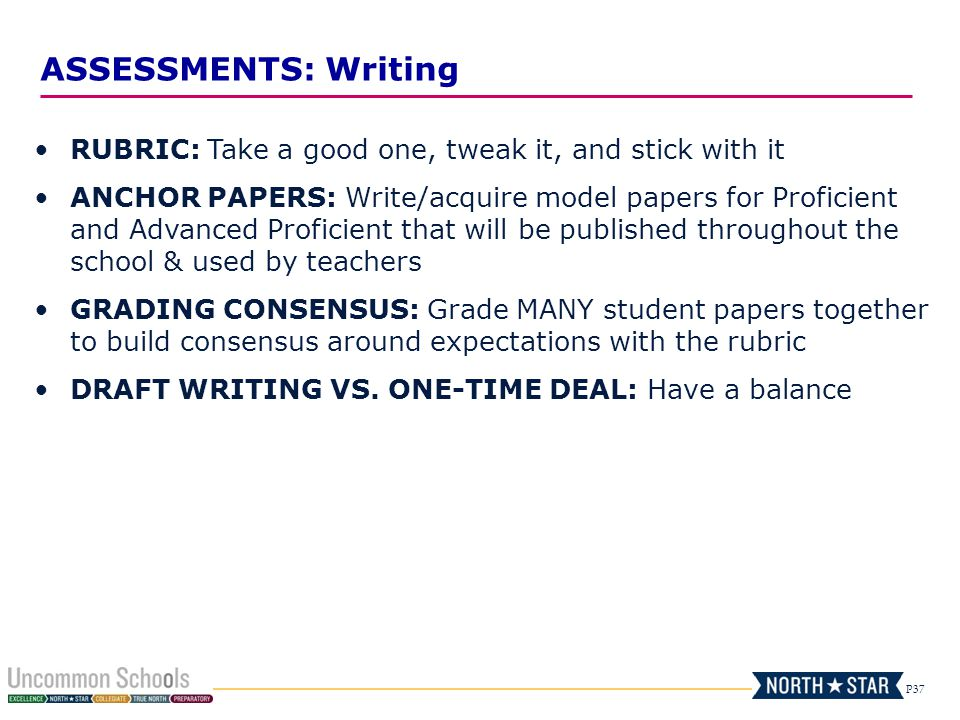 ASSESSMENTS: Writing RUBRIC: Take a good one, tweak it, and stick with it.