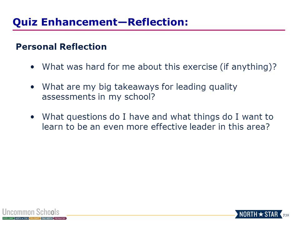 Quiz Enhancement—Reflection: