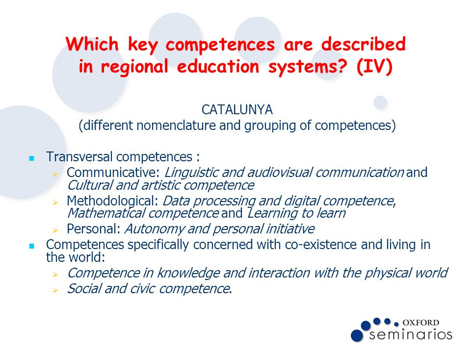 (different nomenclature and grouping of competences)