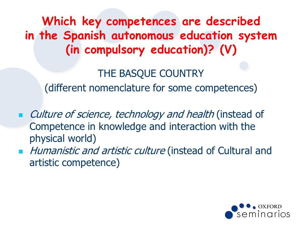 (different nomenclature for some competences)