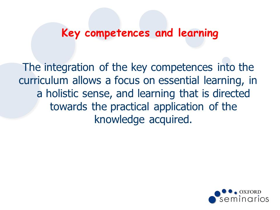 Key competences and learning