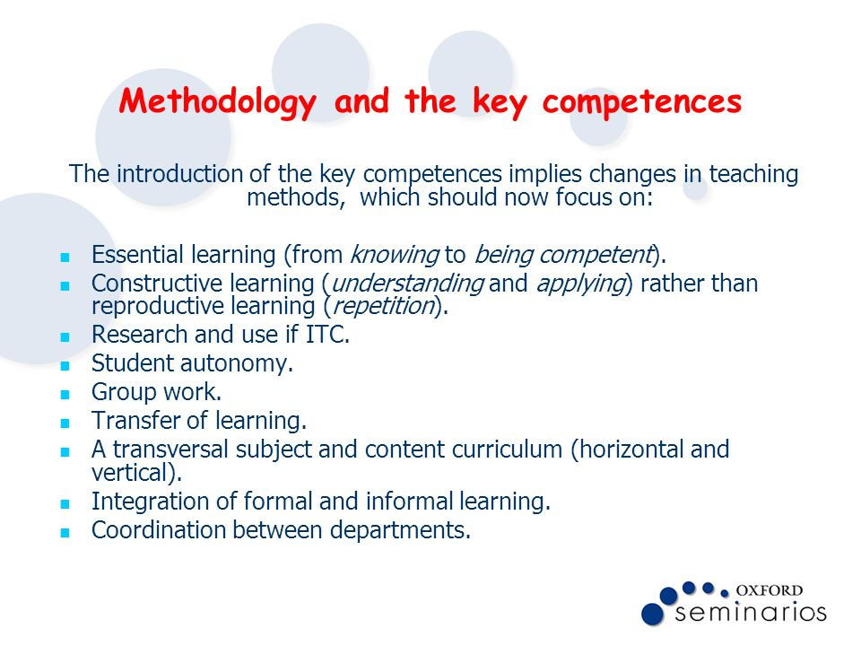Methodology and the key competences
