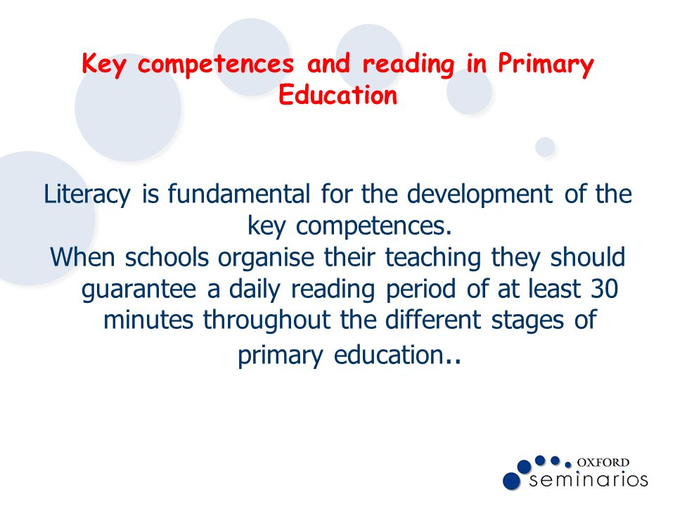 Key competences and reading in Primary Education